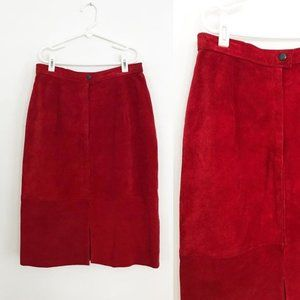 1980's Red Suede Leather Skirt by Comint - Small
